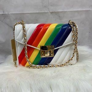 NWT MICHAEL KORS rainbow white Peyton medium